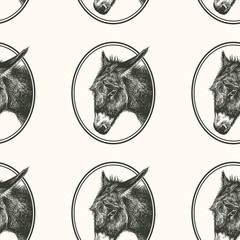 Seamless pattern with farm animal. Donkey.