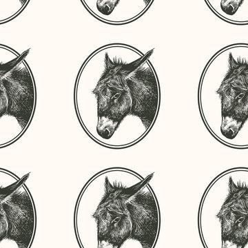 Seamless pattern with farm animal. Donkey.