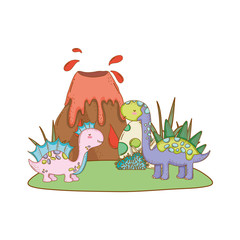 cute apatosaurus couple with volcano