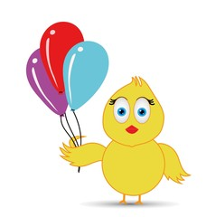 chick having fun or playing with balloons
