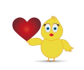 chick holding love sign