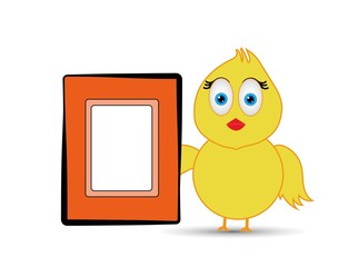 a photo frame with chick