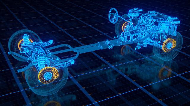 Car structure - Braking System 3d rendering