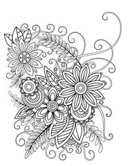 Floral adult coloring page. Black and white doodle flowers. Bouquet line art vector illustration isolated on white background. Design elements