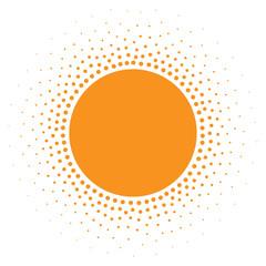 Wall Mural - Sun icon. Halftone orange circle with gradient  texture circles logo design element. Vector illustration