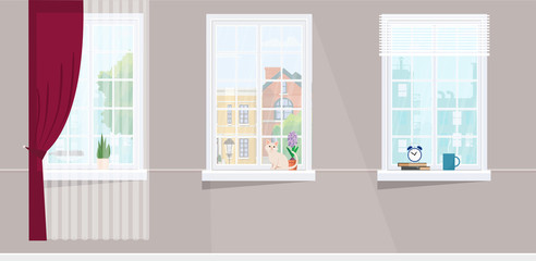 Three windows overlooking the city. Flower, cat and hot cup windowsill. Flat style vector illustration.