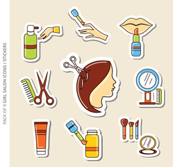 Salon icons/stickers set of girls with shadow in trendy flat style. Set of 9 colorful salon stickers vector for web site, graphic design and mobile apps.