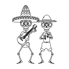 skeletons mexican with hat and maracas characters