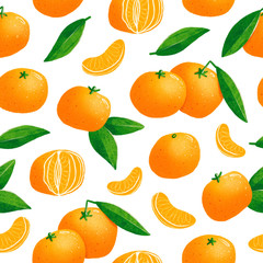 Tangerines illustration seamless pattern