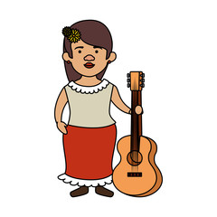 traditional mexican woman with hair flower and guitar