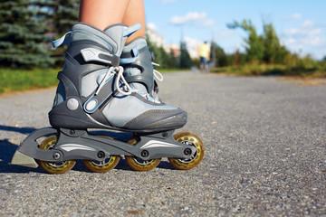 Roller skate legs close up in skatepark.Roller skates is extreme sport.Back view.