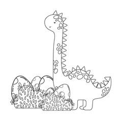cute apatosaurus with eggs