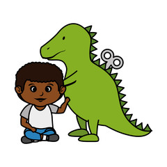 little boy with tyrannosaurus rex toy