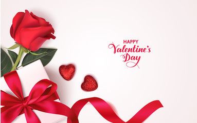 Valentine's day design template. Banner with gift box, red rose and decorative heart. Vector illustration