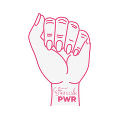 girl power label with hand in fight signal icons