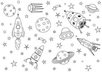 Spaceships in the universe - coloring book