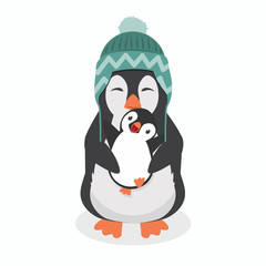 Cute penguin  with baby penguin