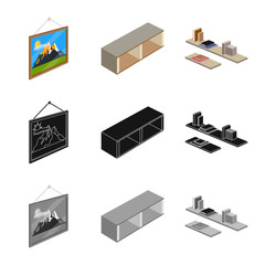 Vector design of bedroom and room symbol. Collection of bedroom and furniture vector icon for stock.