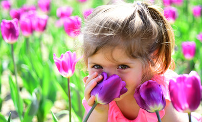 Danger in a vase. face skincare. allergy to flowers. Small child. Natural beauty. Childrens day. Little girl in sunny spring. Summer girl fashion. Happy childhood. Springtime tulips. weather forecast
