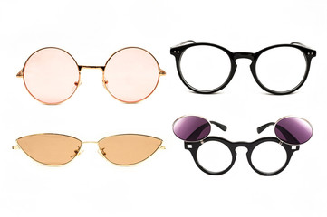 Glasses for beauty and sunglasses on a white background. Trends