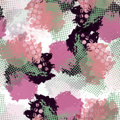 Seamless pattern ethnic style with watercolor effect. Halftone colorful textile print. Dotted background.
