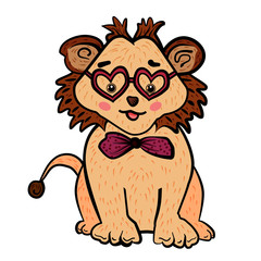 Cute lion with glasses in shape of heart and bow-tie. Happy Valentine's Day. Cute cartoon leo. The sweet feeling of love. Valentine's Day. Vector illustration for postcard or poster, print for clothes