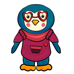 Penguin cartoon illustration. Penguin with glasses in shape of heart. Penguin in a jumpsuit with a heart. Fashion animals. The sweet feeling of love. Valentine's Day. Valentine's Day.