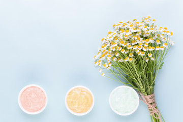 Chamomile aromatherapy theme , handmade cosmetic. space for textessential  and medical flowers herbs