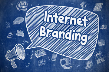 Internet Branding - Doodle Illustration on Blue Chalkboard.
