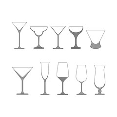set of wine glasses vector illustration.