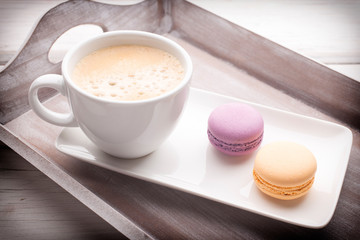 Coffee and macaroons.