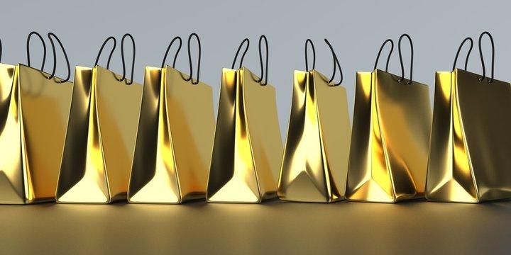 Golden Shopping Bags