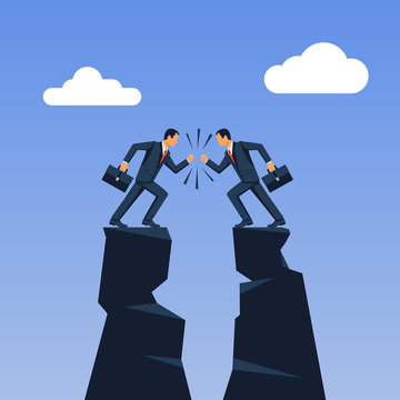 Business conflict concept. Disagreements of people. Two businessmen collided in battle standing on top of a mountain. Disagreement confrontation. Vector illustration flat design.