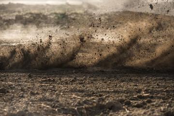 Fototapeta dirt fly after motocross roaring by obraz