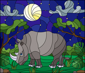 Illustration in stained glass style with cute gray  rhino on the background of green trees of starry  sky and moon