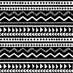 Vector seamless black and white illustration. Ethnic hand drawn pattern for wallpaper,fabric, textile