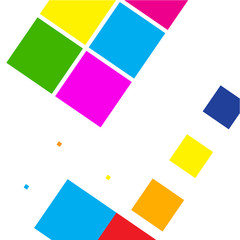 The abstract image of colored geometric squares.