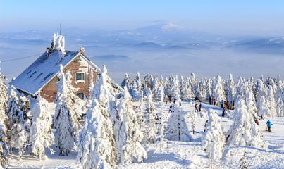 Szczyrk, Poland. Winter view of Skrzyczne peak in  Beskid Mountains