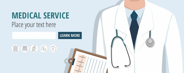 Doctor holding document. Web banner