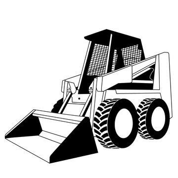 construction machine - skid steer loader vector image