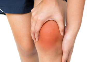 knee pain isolated on white background