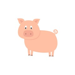 Cute pig on white background. Vector illustration.