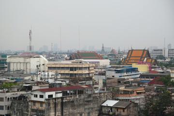 Bangkok downtown, Thailand. View from Golden Mountain, Wat Saket