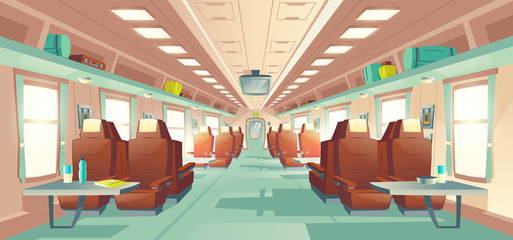 Modern passenger long distance travel train business class wagon empty spacious interior with rows of comfortable double seats and dinner tables, baggage bags on shelves cartoon vector illustration