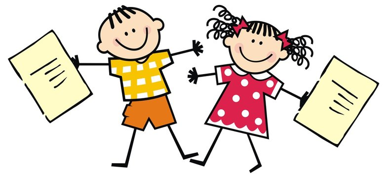 Happy kids with school certificates, vector illustration
