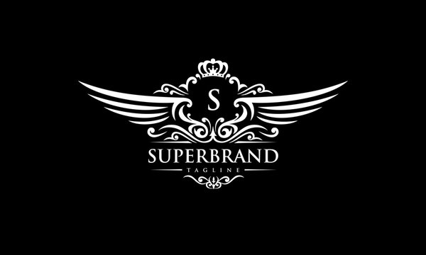 Wing royal vector - luxurious letter logo template