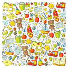 Kindergarten with toys. Pattern for children. Little preschool kids education. Drawing, learning, play