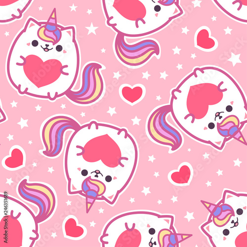Seamless Pattern Cute Cat Unicorn With A Heart On A Pink