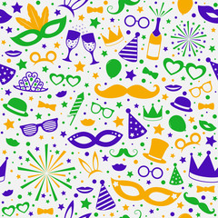 Seamless pattern with party decorations - concept of wrapping paper. Vector