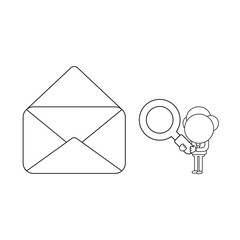Vector businessman character holding magnifying glass and looking at open empty mail envelope. Black outline.